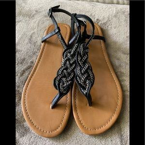 Nine West Navy Promised Leather Braided Sandals
